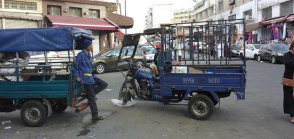 Triporteurs pour la distribution urbaine, quartier Derb Omar, Casablanca