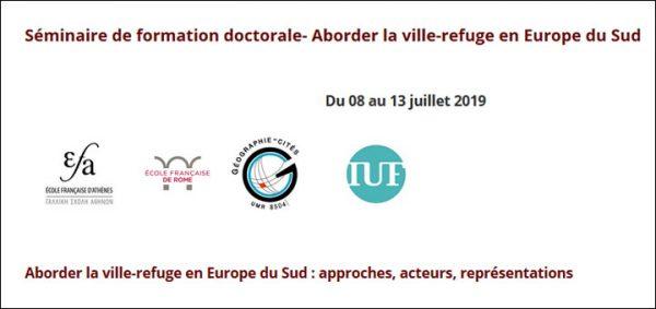 """Séminaire de formation doctorale """"Aborder la ville-refuge en Europe du Sud"""""""