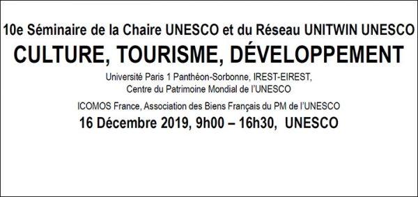 """16/12/19 – Séminaire """"Changement climatique, patrimoine mondial et tourisme"""""""